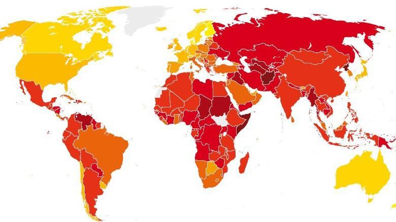 Vnímání korupce ve světě (rok 2012)