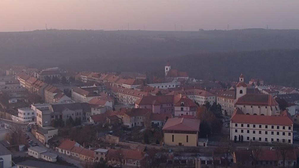 Pohled na večerní Moravský Krumlov