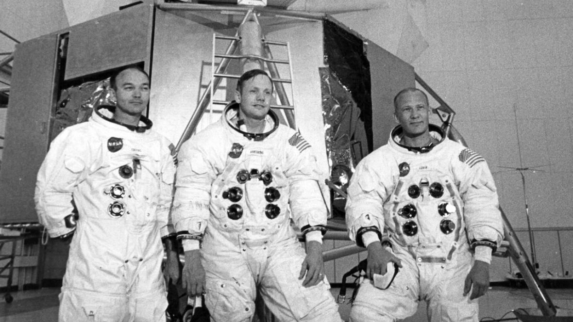 Mike Collins, Neil Armstrong a Edwin 'Buzz' Aldrin