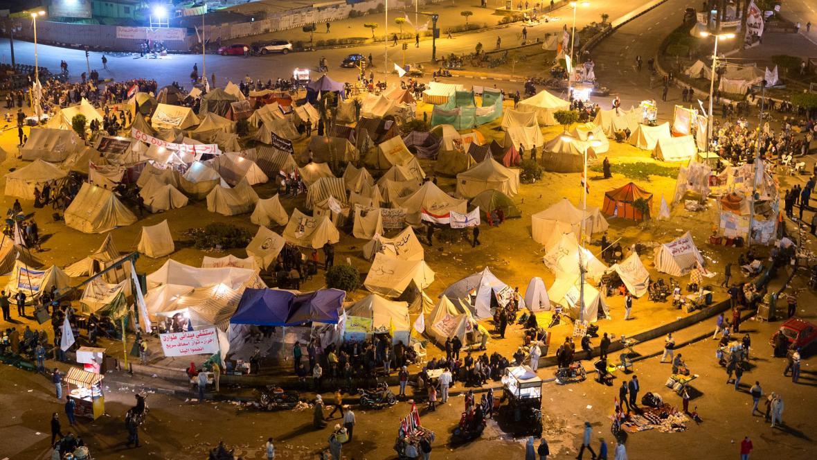 Opoziční tábor na náměstí Tahrír