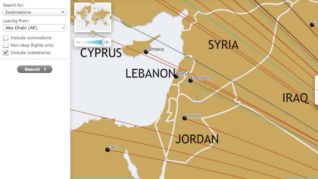 Na mapě aerolinek Etihad Izrael neexistuje