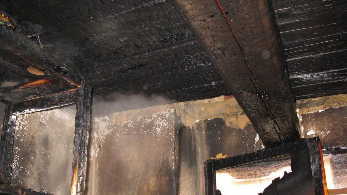 Požár domu ve vyškovské místní části Rychtářov