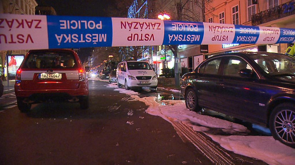 Ulice Na Příkopě po zásahu hasičů