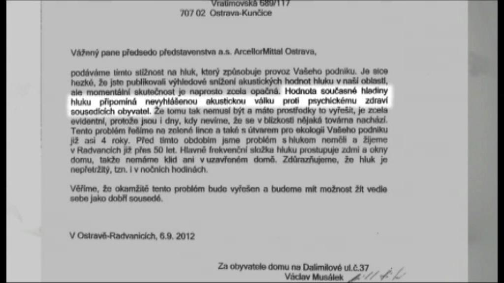 Petice za snížení hluku z ArcellorMittal