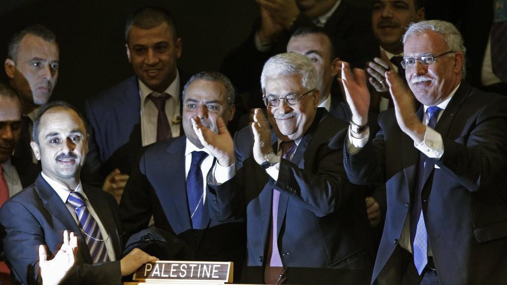 Palestinská delegace po hlasování