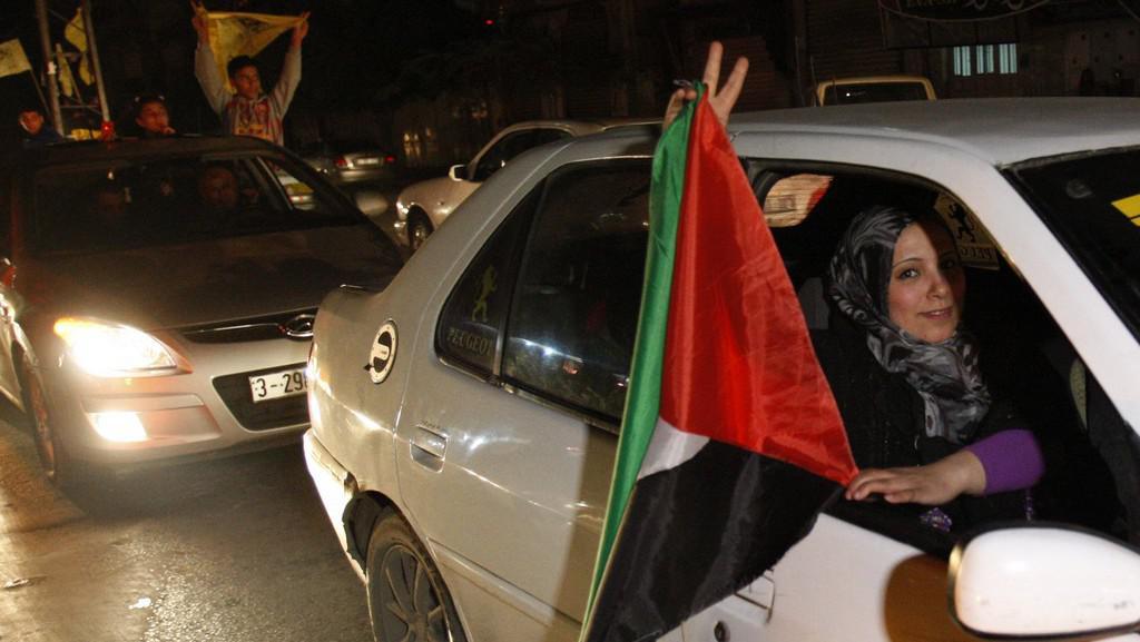 Oslavy v ulicích Ramalláhu