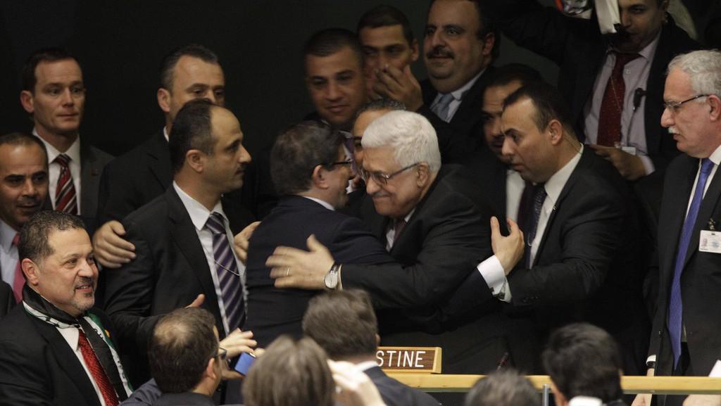 Palestinský prezident Mahmúd Abbás po hlasování na Valného shromáždění OSN