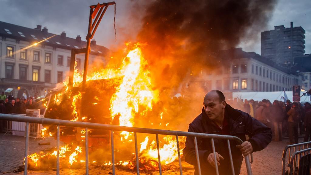 Protest zemědělců v Bruselu