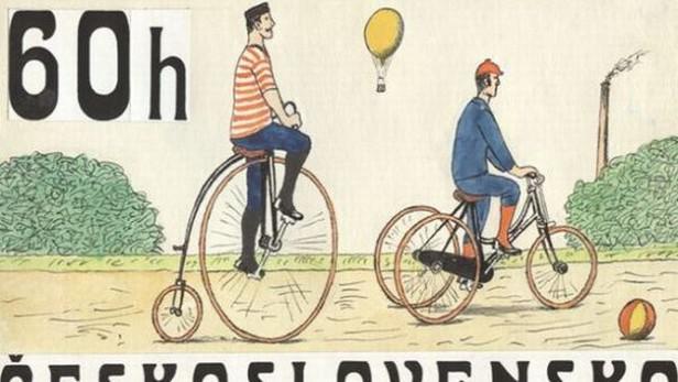 Návrh na poštovní známku z emise Historická kola - s kresbou Kamila Lhotáka
