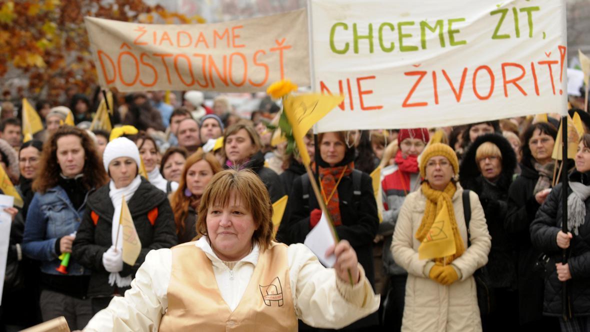Stávka učitelů v Bratislavě