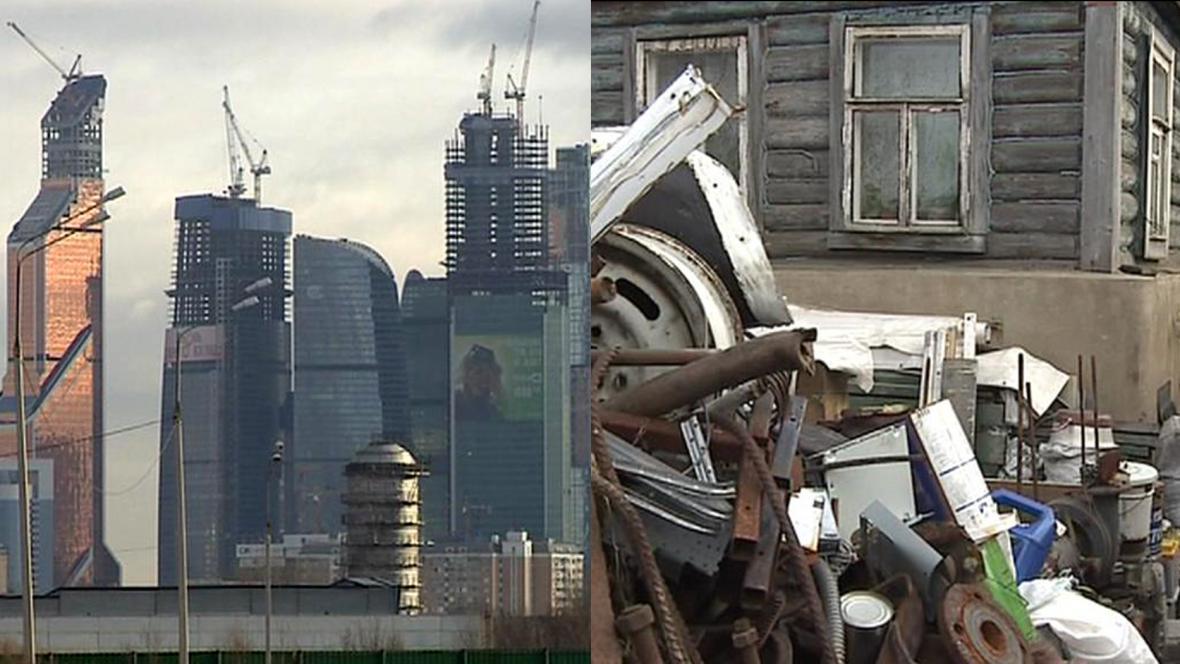 Moskevské mrakodrapy a dřevěnka v Těrechově