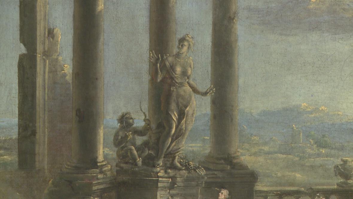 Norbert Grund / Krajina s troskami okrouhlého chrámu (detail)
