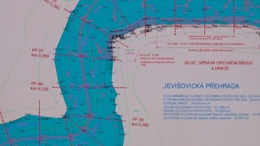 Plánek Jevišovické přehrady