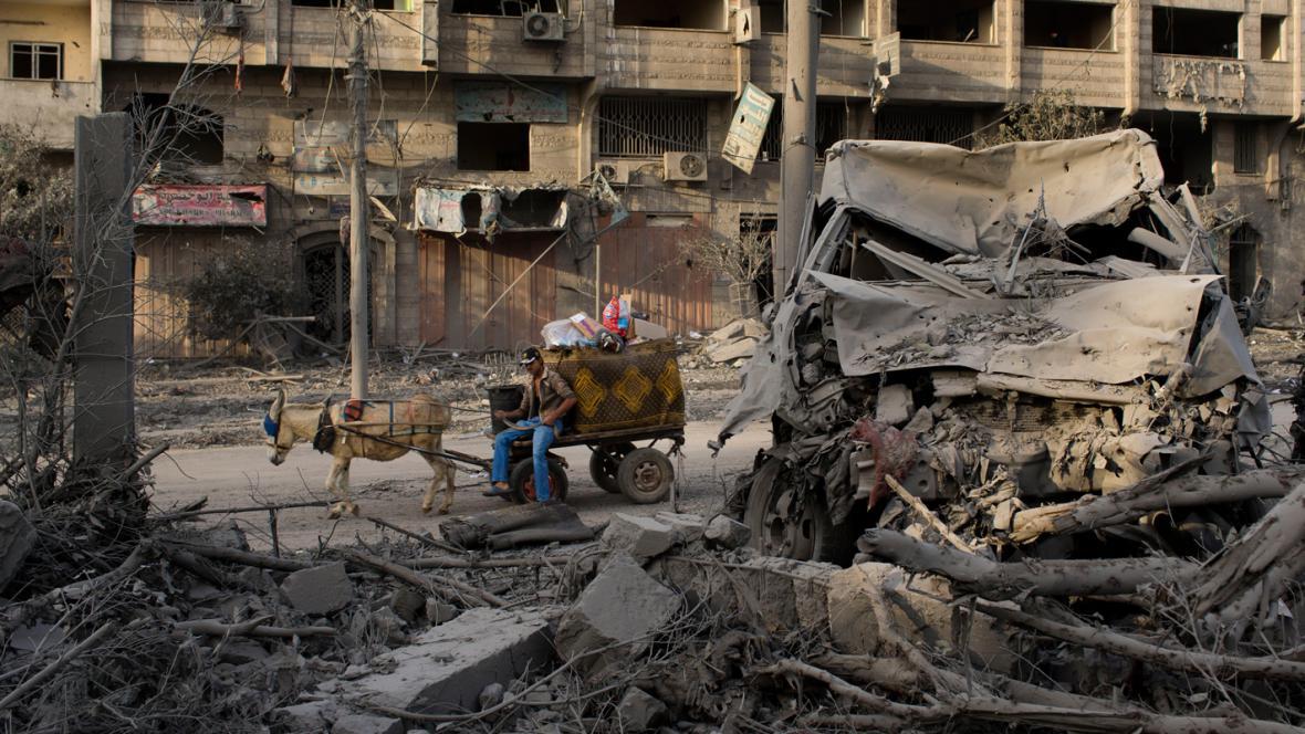 Následky výbuchu v Gaze