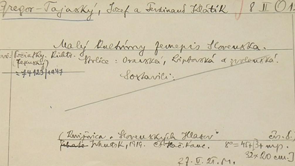 Původní výpůjční lístek vyplněný prvním knihovníkem - Jiřím Mahenem