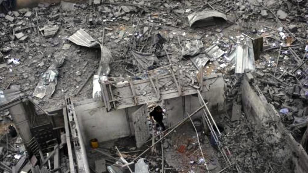 Zničené sídlo vlády Hamasu