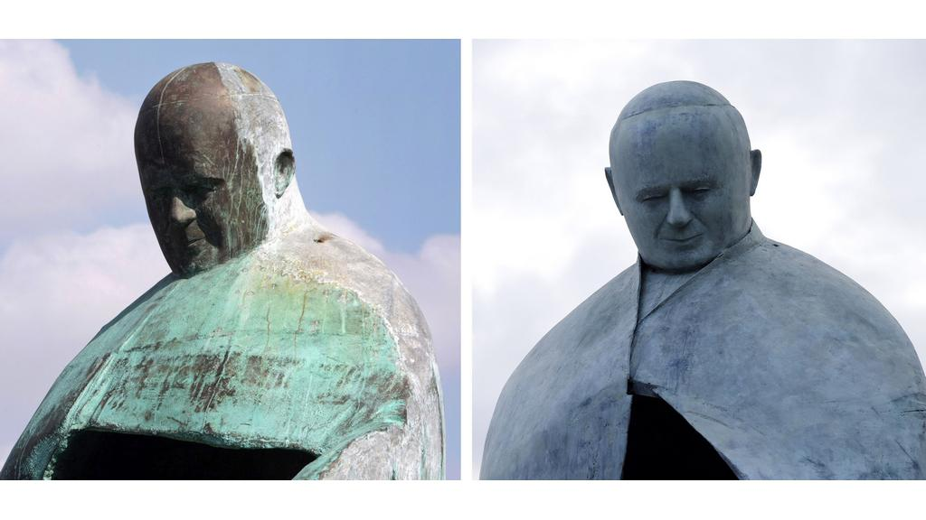 Původní a upravená podoba sochy Jana Pavla II.