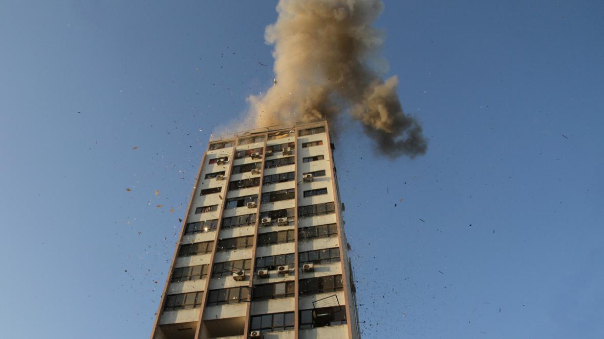 Nálet na budovu televize Al Aqsa v Gaze