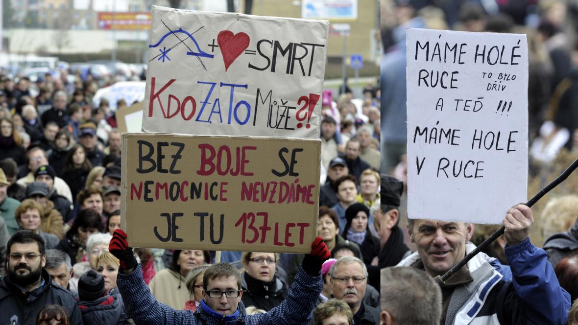 Protest za nemocnici v Roudnici nad Labem