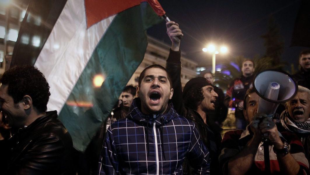 Demonstrace při izraelské ambasádě v Aténách
