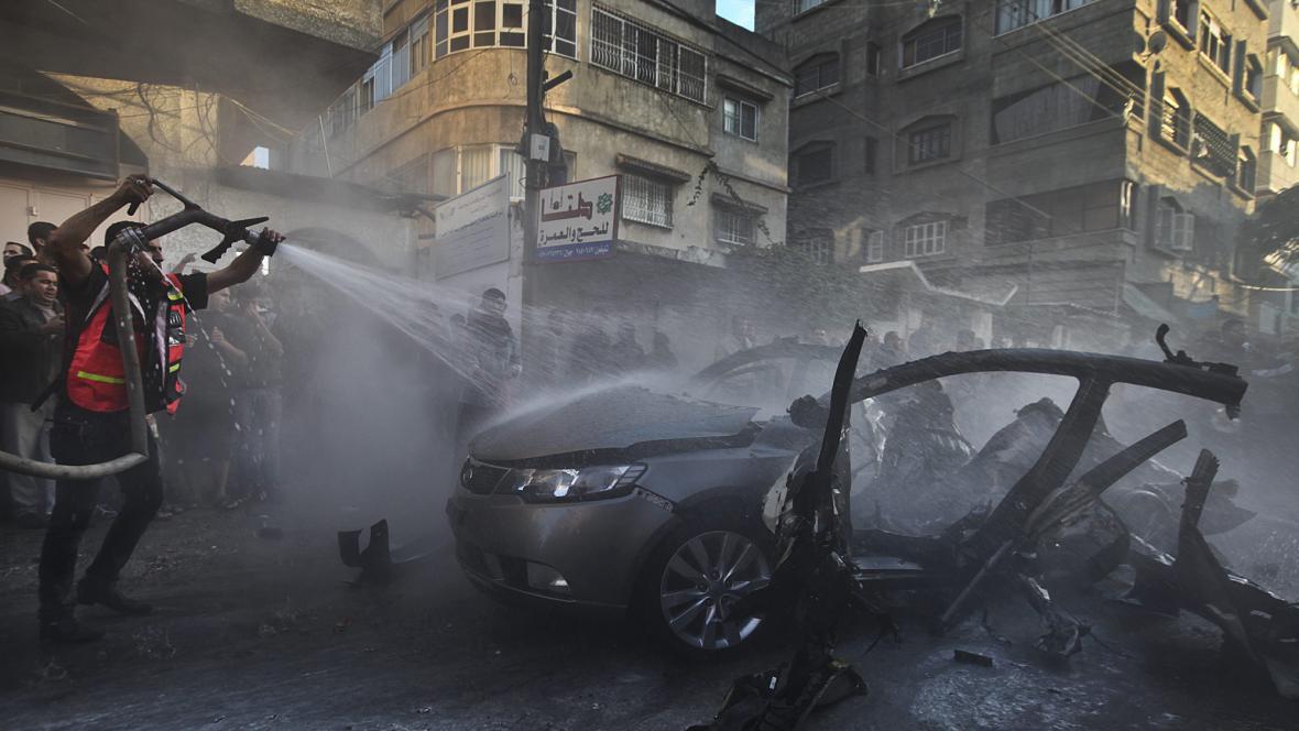Džabárího auto zasažené izraelskou raketou