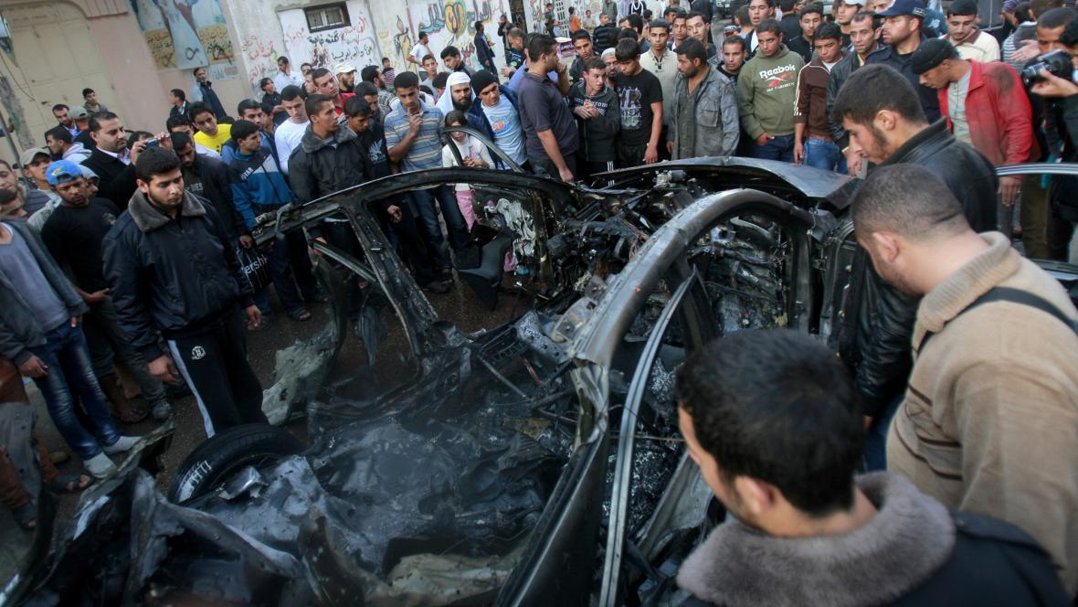 Džabárího auto zasažené v pásmu Gazy