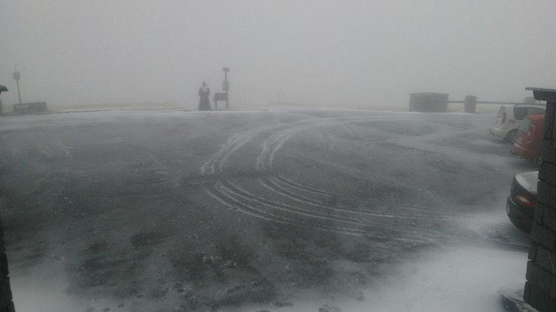 První sníh na Pradědu