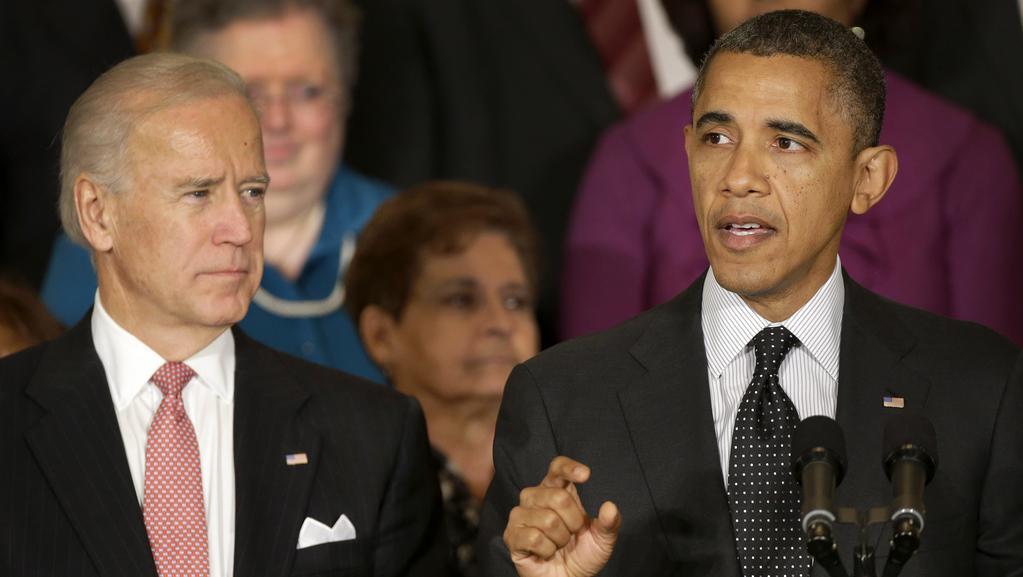 Joe Biden a Barack Obama během projevu ve Washingtonu