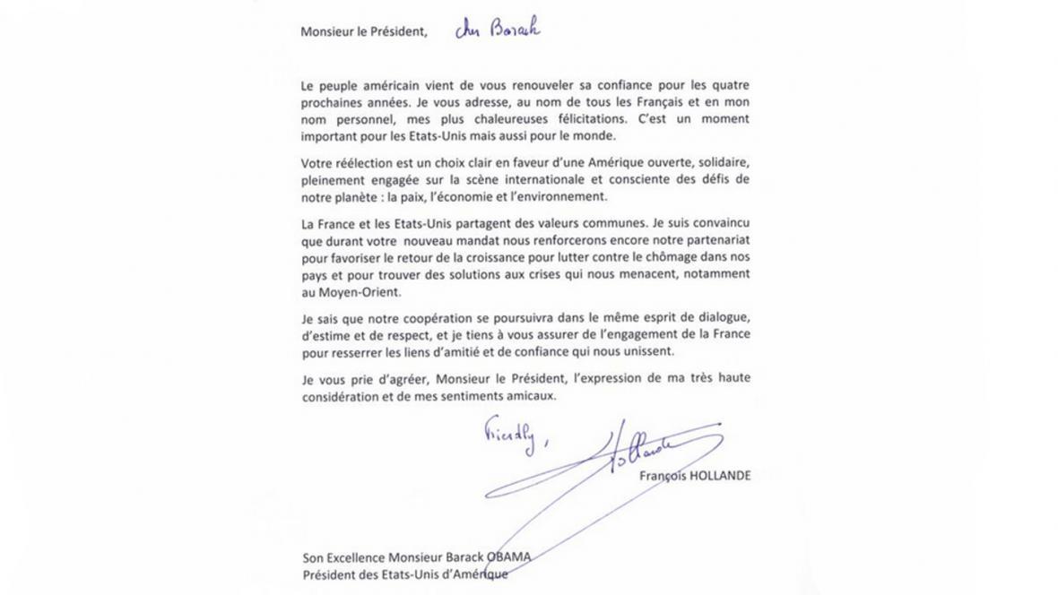 Blahopřání Obamovi od Françoise Hollanda