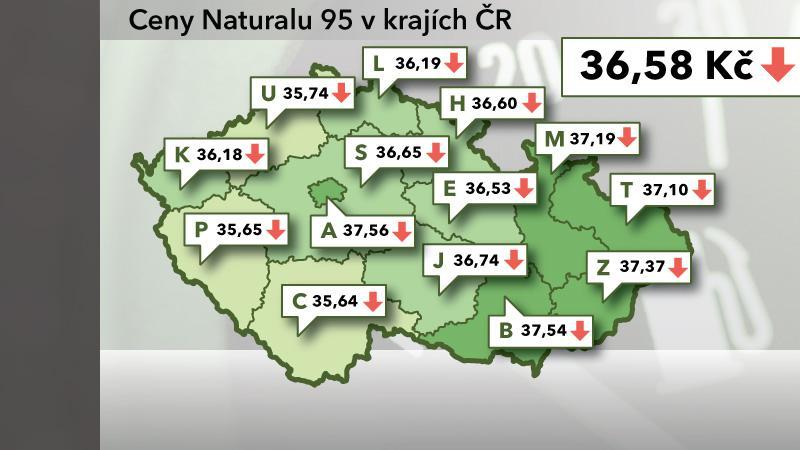 Ceny Naturalu 95 v ČR k 8. listopadu 2012