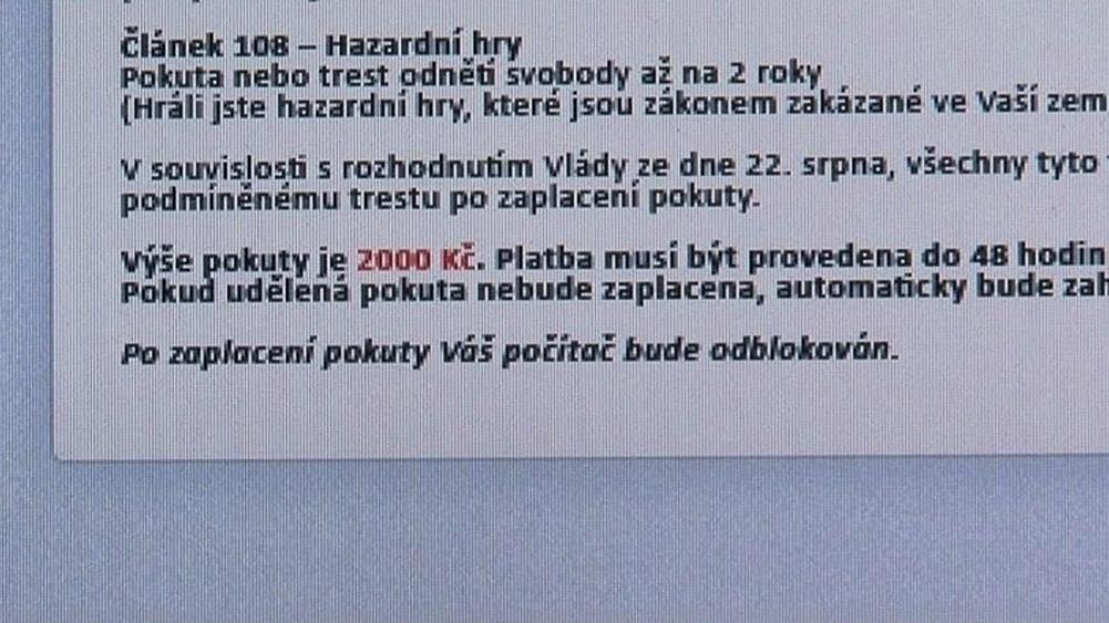 Podvodný program žádá uhrazení 2 000 korun