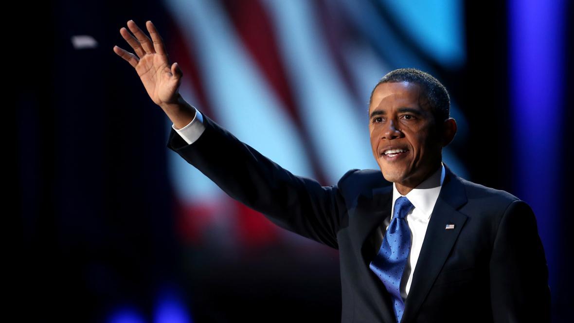 Barack Obama při vítězném projevu
