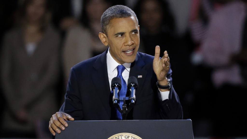 Barack Obama během vítězného projevu