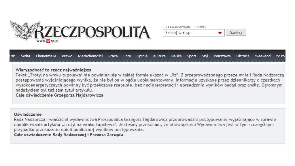 Rzeczpospolita přišla o vedení