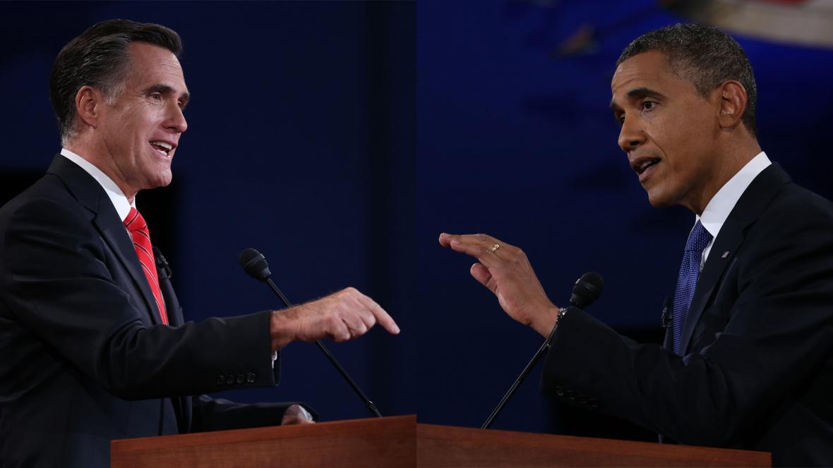 Mitt Romney a Barack Obama v televizní debatě