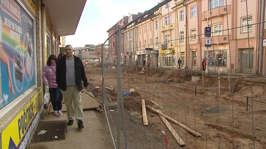 Stavební práce v centru Hradce Králové