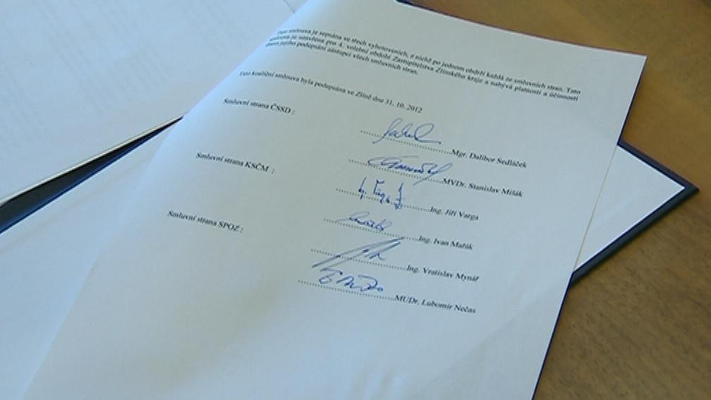 Koaliční smlouva spojila na Zlínsku ČSSD, KSČM a SPOZ