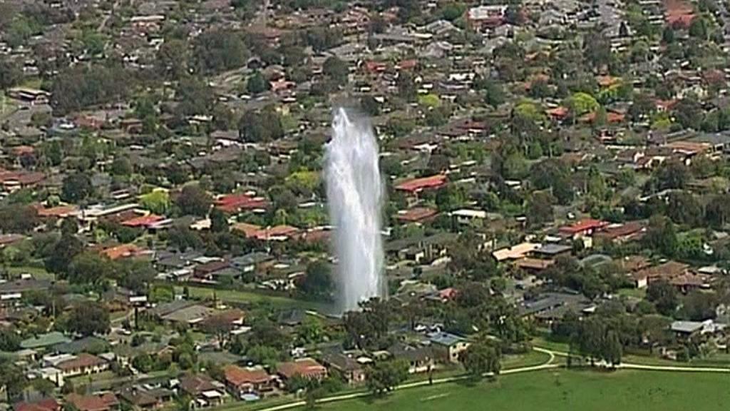 Gejzír vody na předměstí Melbourne