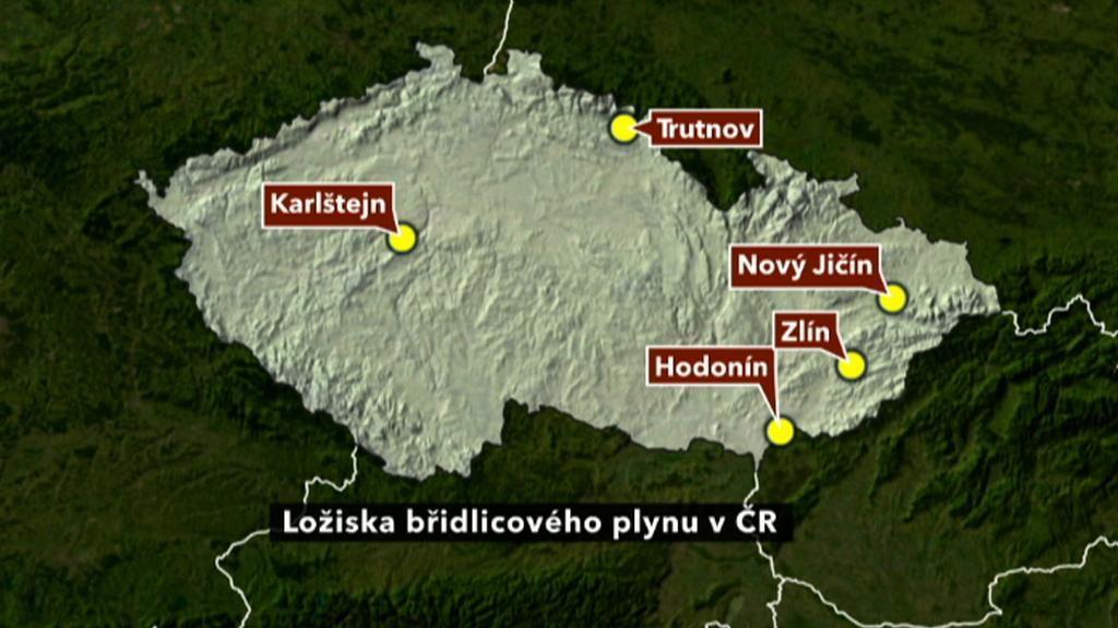 Mapa břidlicových ložisek v ČR