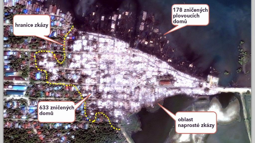 HRW zveřejnila snímky zničeného území v Barmě
