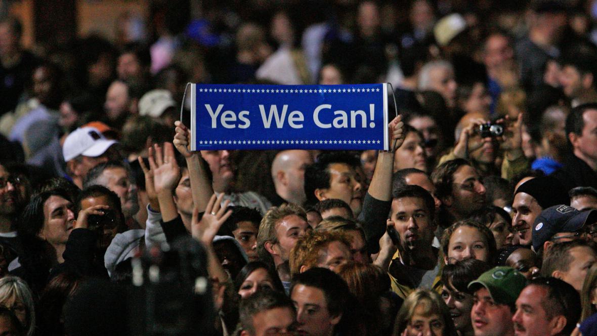 Předvolební shromáždění na podporu Baracka Obamy