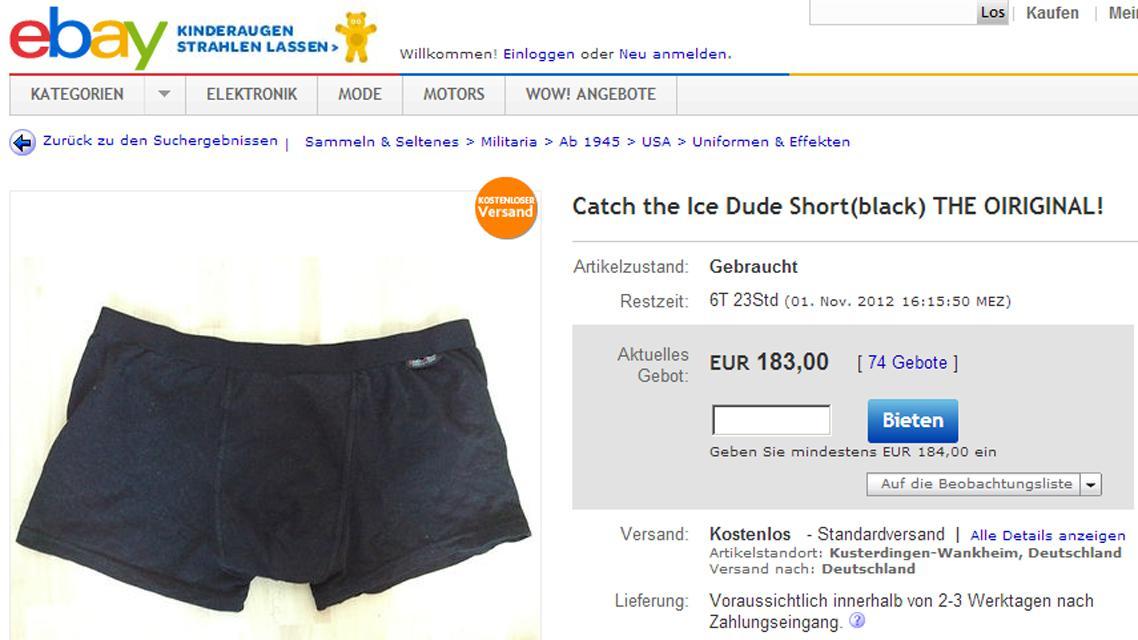 Ledový skokan nabízí plavky na eBay
