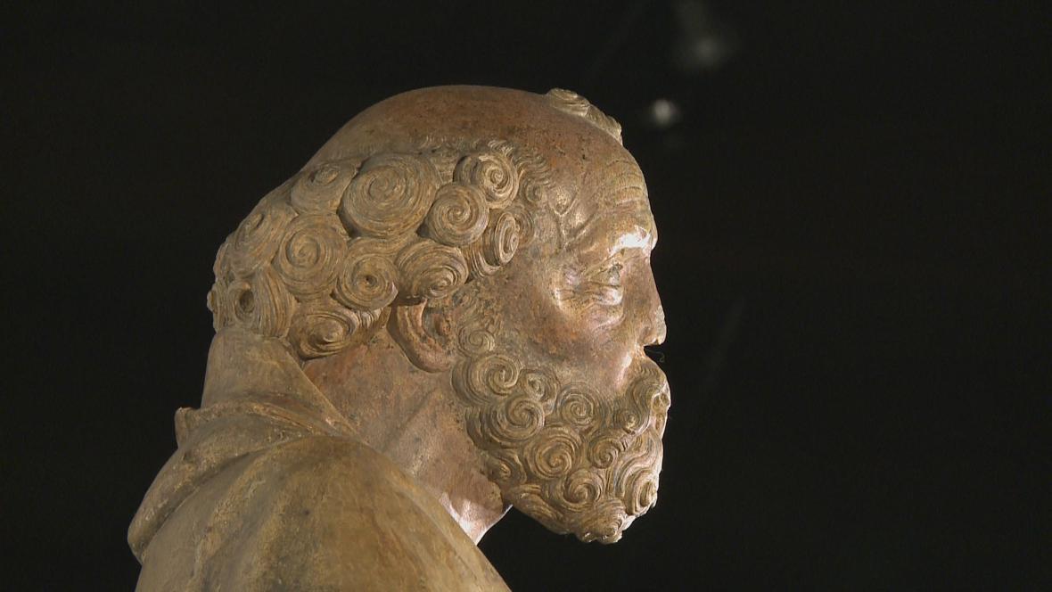Socha sv. Petra ze Slivice (detail)