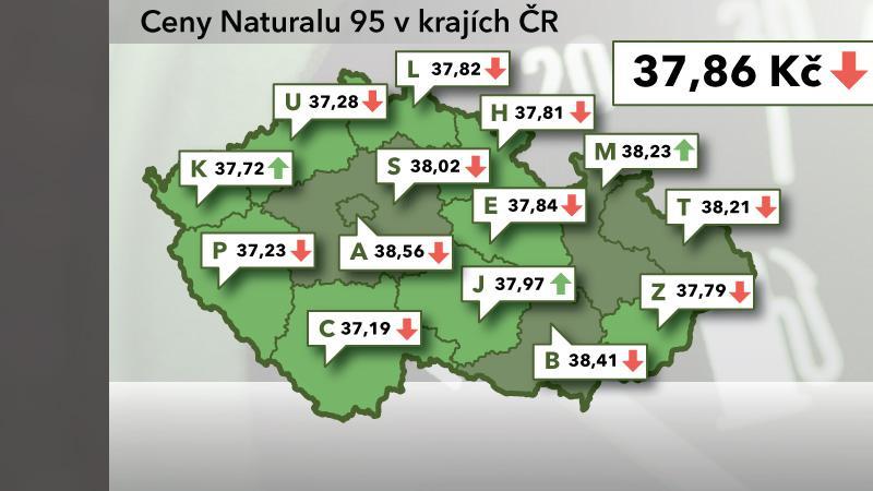 Ceny Naturalu 95 v ČR k 18. říjnu 2012