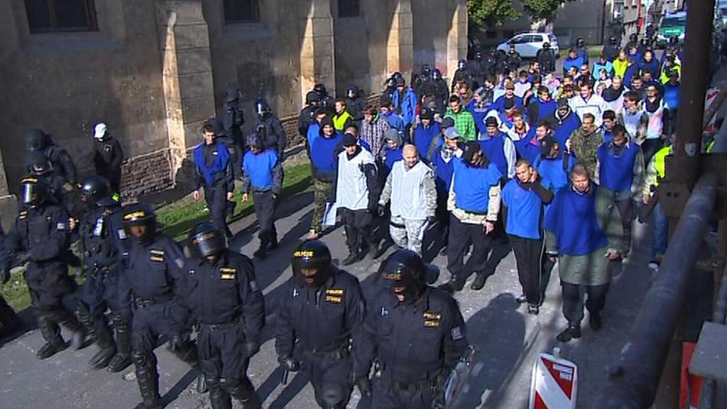 Policejní nácvik zvládnutí demonstrace