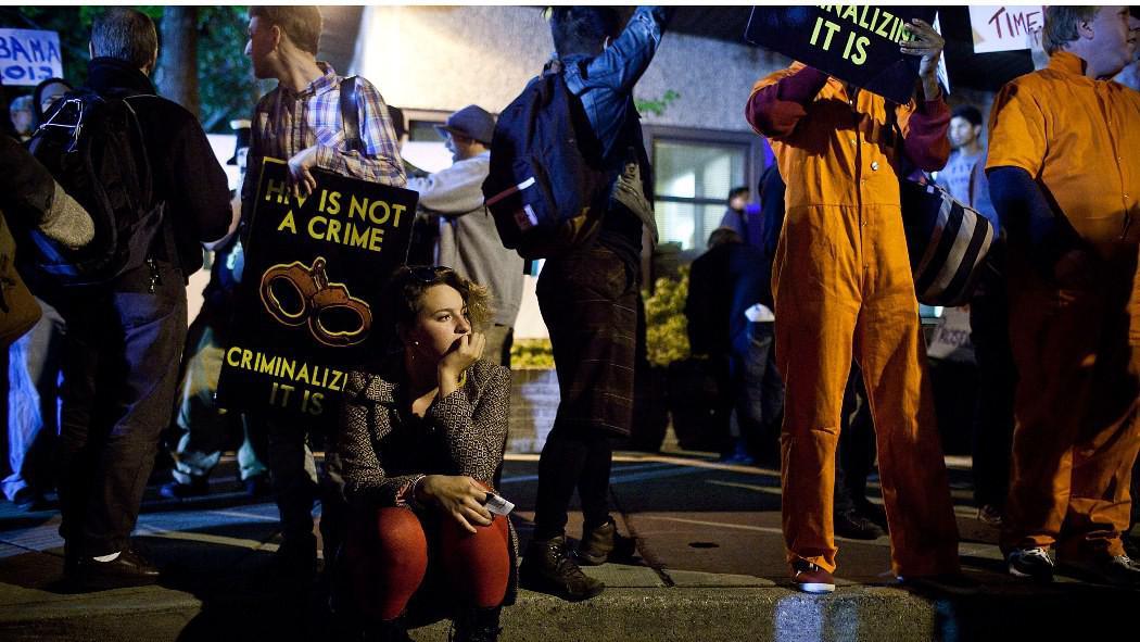 Demonstranti před univerzitou v Hempsteadu