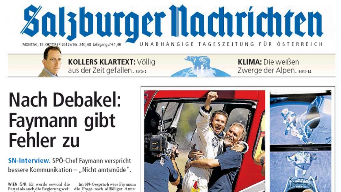 Salzburger Nachrichten o Baumgartnerově skoku