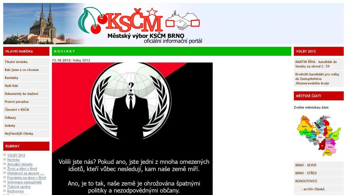 Anonymous napadli stránky brněnské KSČM