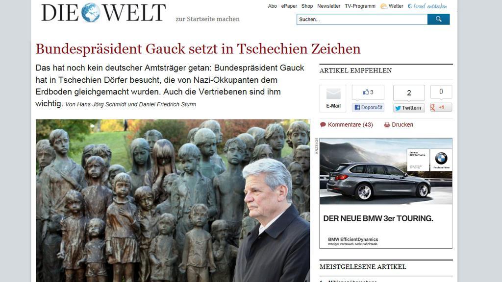Die Welt o návštěvě Gaucka v Česku