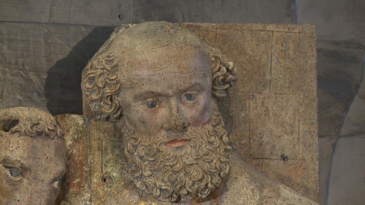 Mistr olomouckých madon/ reliéf Narození Krista z Třebařova u Krasíkova (detail)